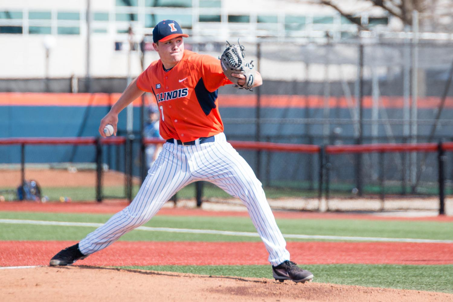 Illinois+starting+pitcher+Ty+Weber+delivers+a+pitch+against+Indiana+State+at+Illinois+Field+on+April+1.+Illinois+takes+on+Maryland+this+weekend+in+a+three-game+series.