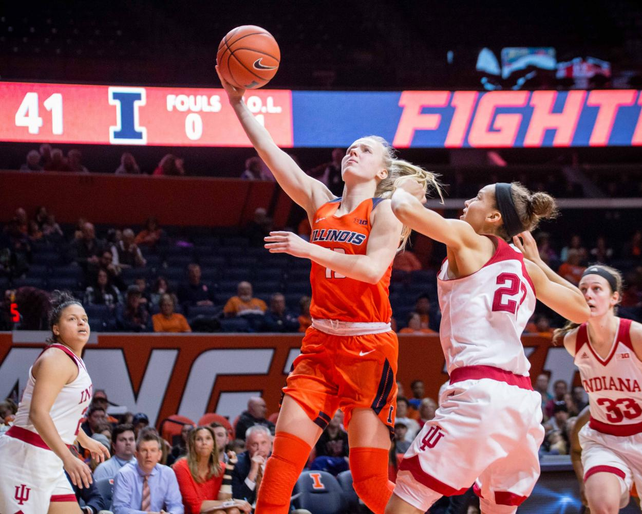 Illinois' Petra Holešínská goes up for a layup during the game against Indiana at State Farm Center Feb. 25.