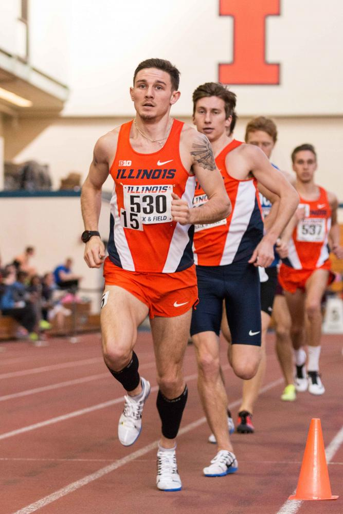Illinois' Dylan Lafond competes in the 3000 meter run during the Orange and Blue meet on February 20, 2016.