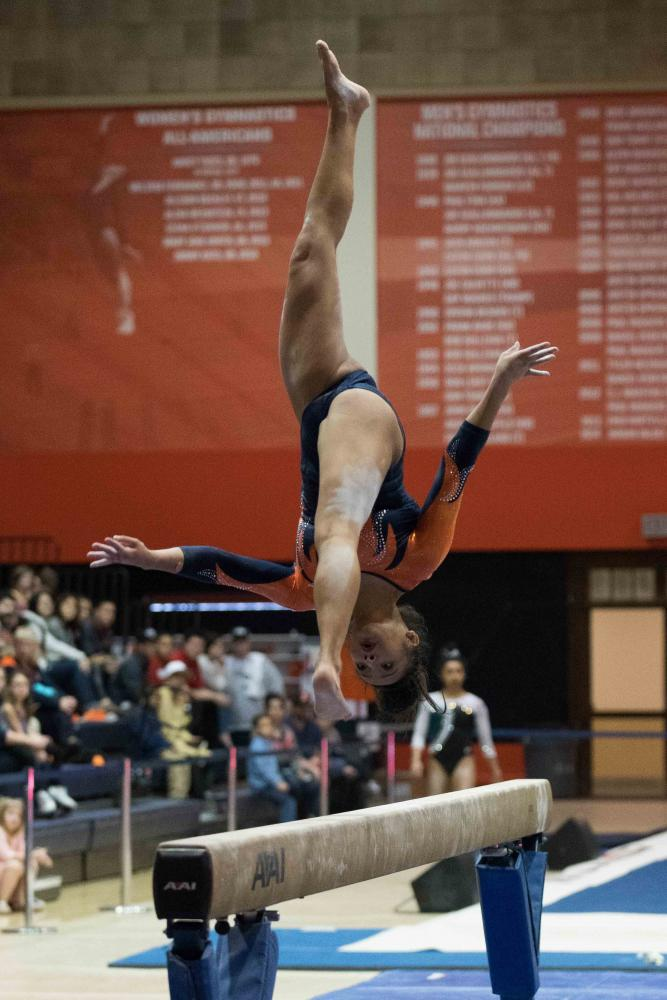 Lizzy LeDuc competes on beam against Michigan State in Huff Hall on February 17.