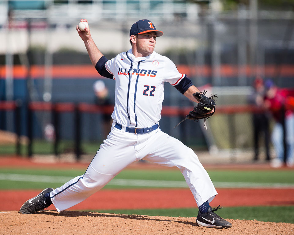Illinois+starting+pitcher+Cyrillo+Watson+%2822%29+delivers+a+pitch+against+Maryland+at+Illinois+Field+on+Saturday%2C+May+6.