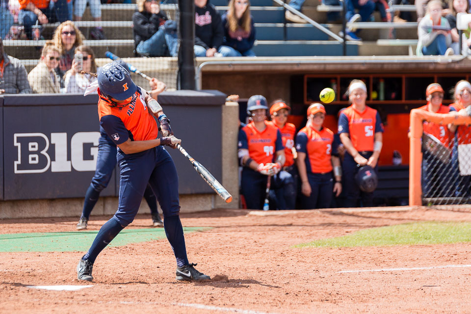 Illinois' Nicole Evans (40) hits her 52nd career home run, breaking the school record, against Ohio State at Eichelberger Field on Saturday, May 6.