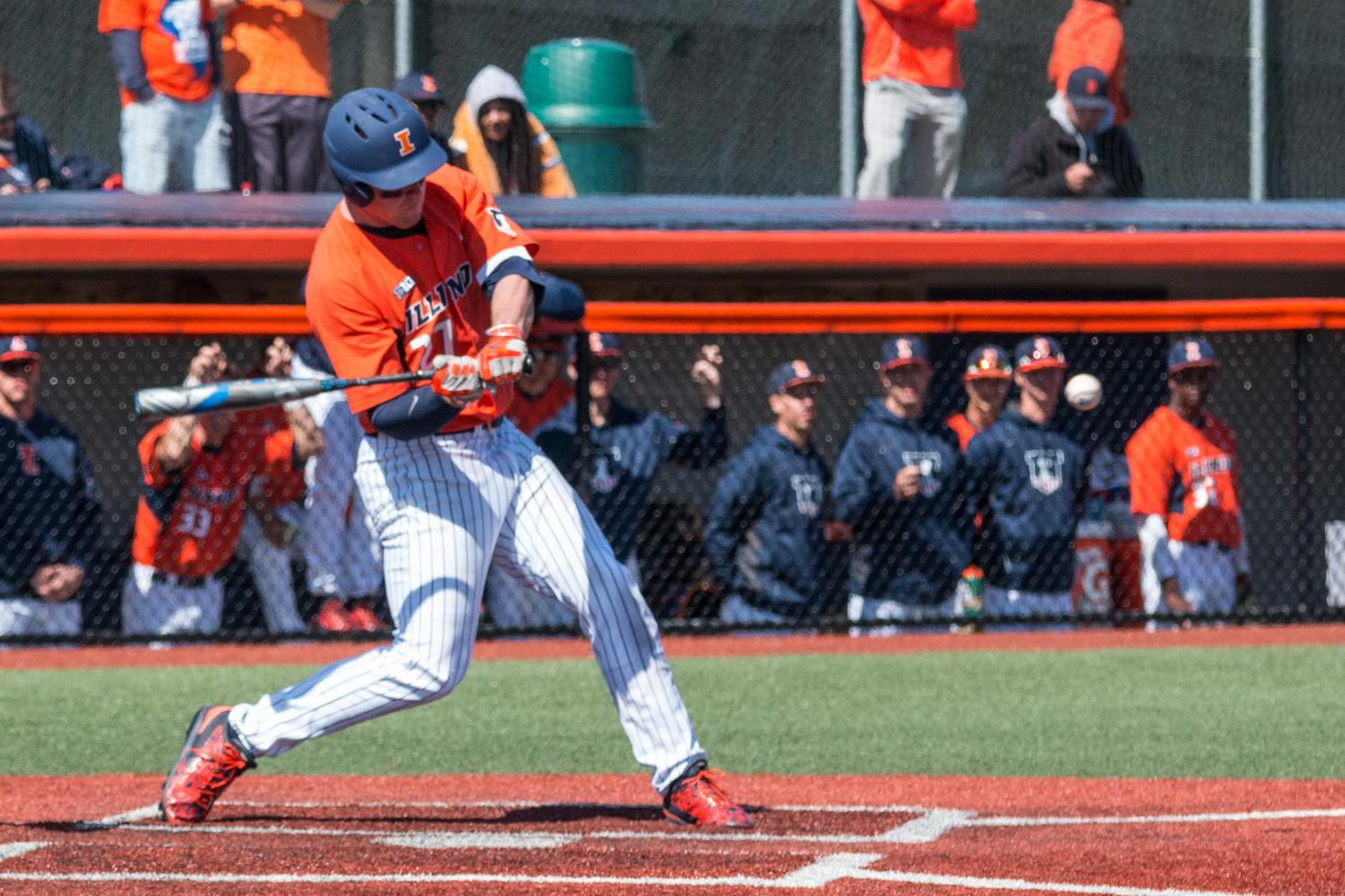 Pat McInerney takes a swing against Penn State on March 27, 2016 at Illinois Field.