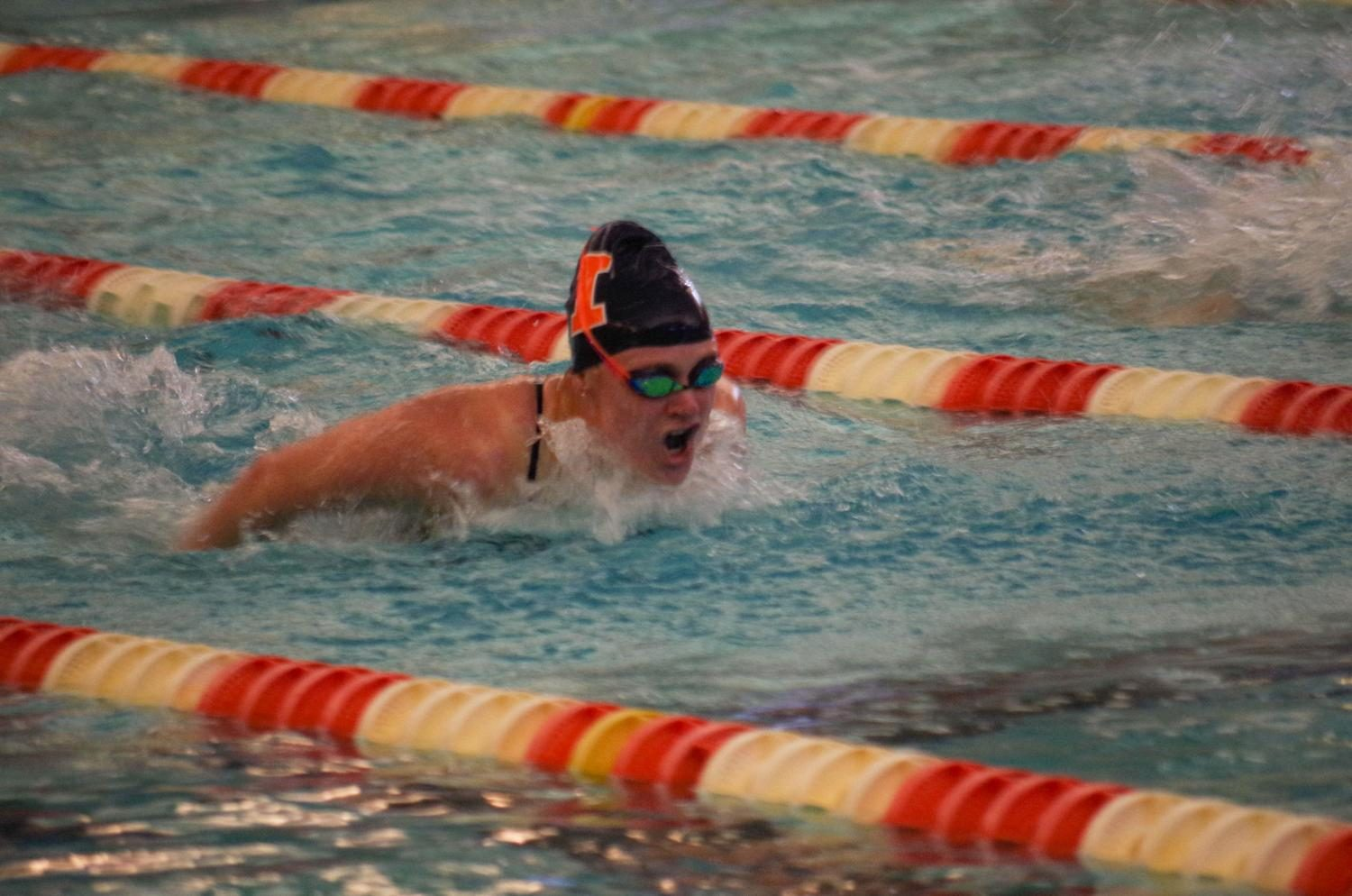 Illini%27s+Samantha+Stratford+swims+the+butterfly+against+Nebraska+on+Jan.+21st+in+the+ARC+pool.
