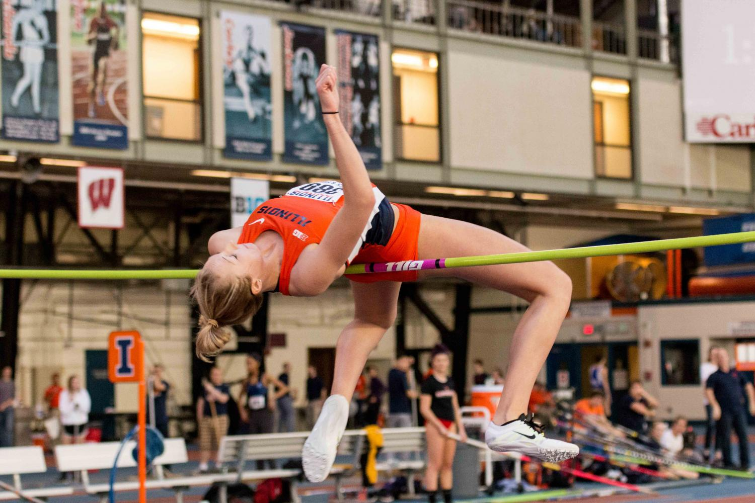 Illinois%27+Kandie+Bloch-Jones+attemps+the+high+jump+during+the+Orange+and+Blue+meet+on+Saturday%2C+February+20%2C+2016.+Kandie+won+the+high+jump+with+a+height+of+1.81+meters.