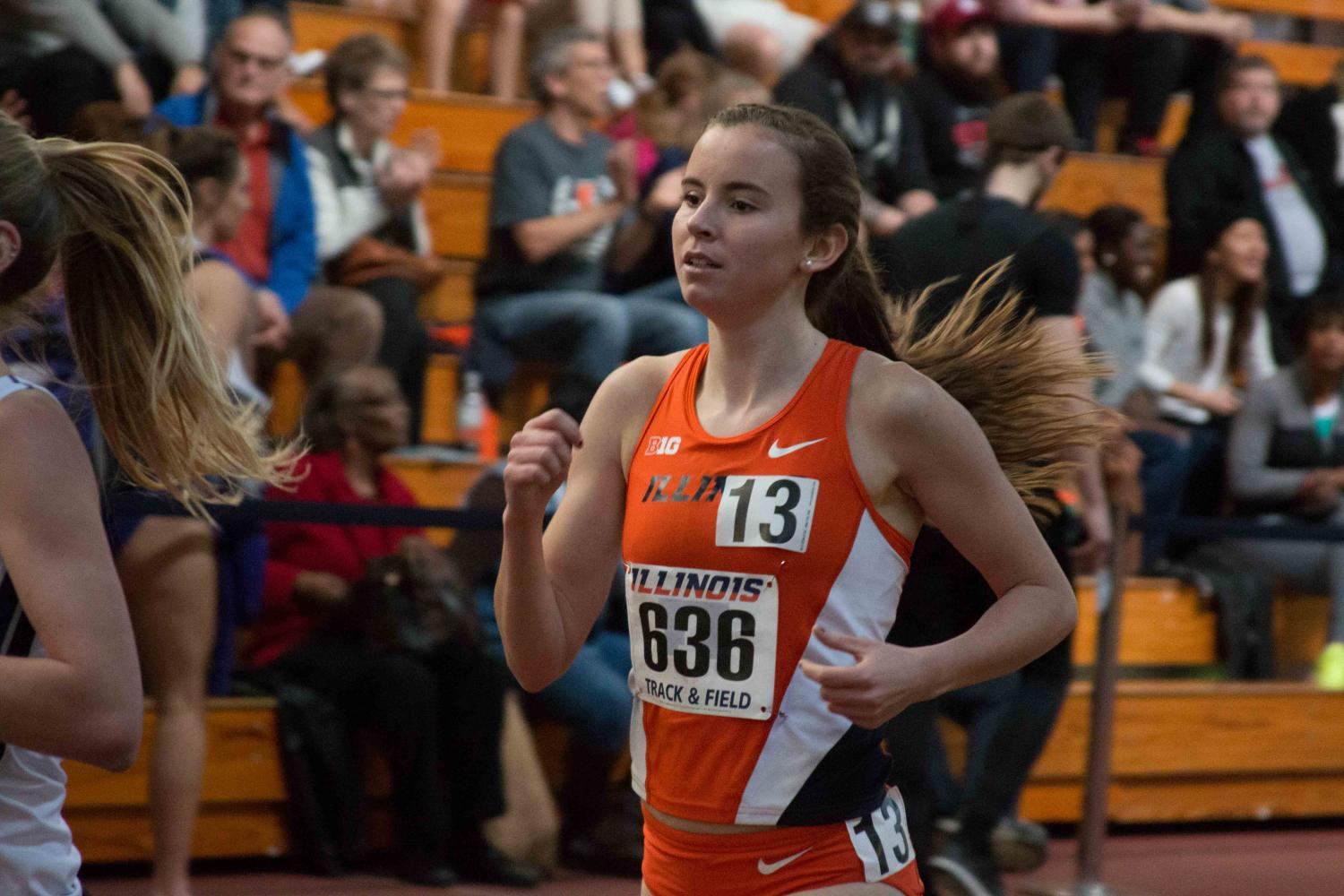 Valerie+Bobart+competes+in+the+1+mile+run+during+the+Orange+%26+Blue+Meet+at+Armory+on+Feb.+20%2C+2016.