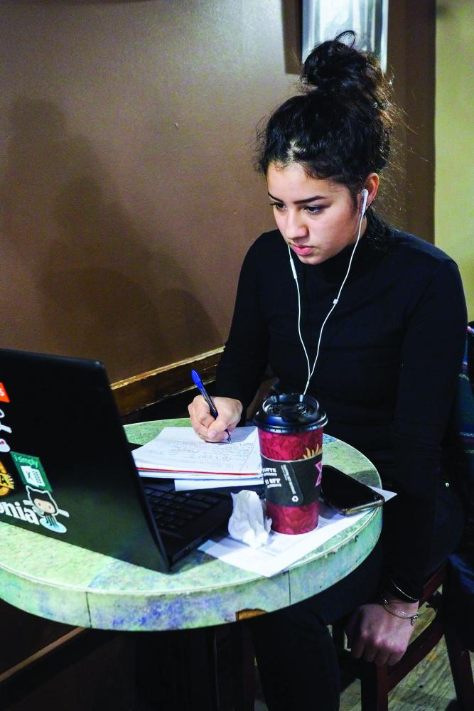 Cirina Nevarez, senior, settles in at Espresso Royale to study for her upcoming finals. Interim editor in chief Jessica Bursztynsky recommends Caffe Paradiso for studying and socializing.