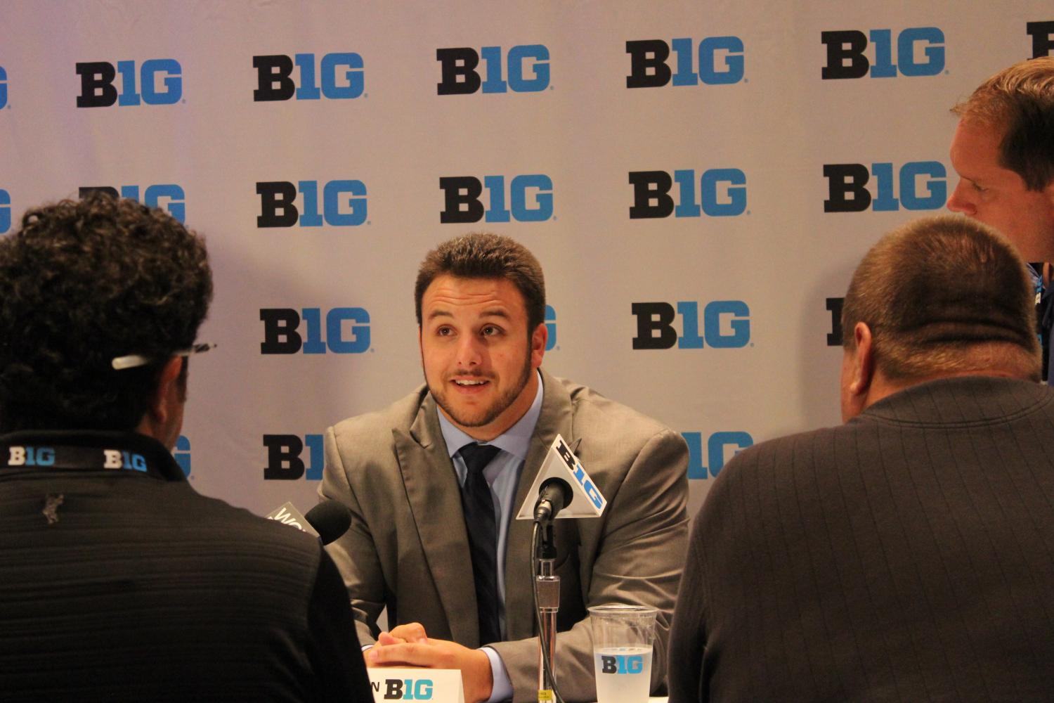 Senior+lineman+Christian+DiLauro+answers+questions+during+Big+Ten+Media+Days+on+July+24.