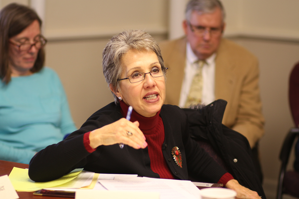 Former Vice Chancellor for Student Affairs Renee Romano speaks at the Senate Executive Committee meeting on February 27, 2017.