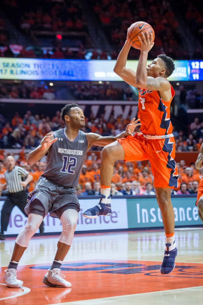 Illinois' Te'Jon Lucas goes up for a layup off a fast break during the game against Northwestern at State Farm Center on Feb. 21. Lucas has increased his vertical by 6 1/2 inches.