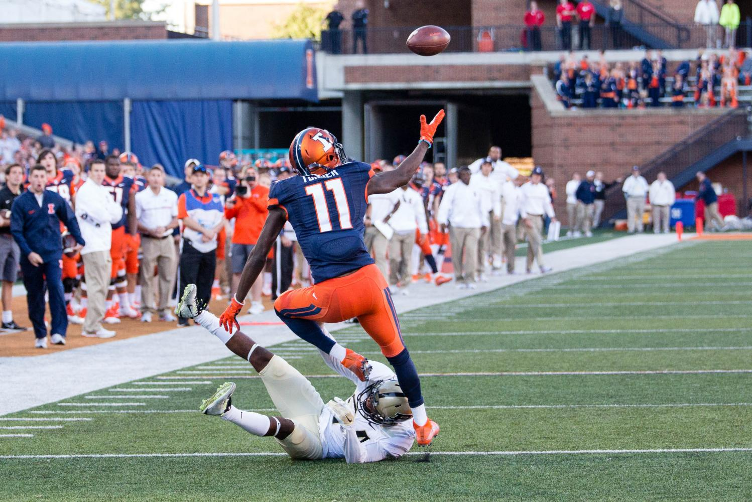Illinois wide receiver Malik Turner gets ready to catch a ball that he tipped during the game against Purdue at Memorial Stadium on Oct. 8, 2016. Turner was named to the Reese's Senior Bowel watch list.