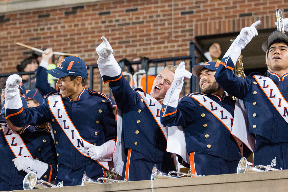 Members+of+the+Marching+Illini+cheer+during+the+game+against+North+Carolina+at+Memorial+Stadium+on+Saturday%2C+September+10%2C+2016.+