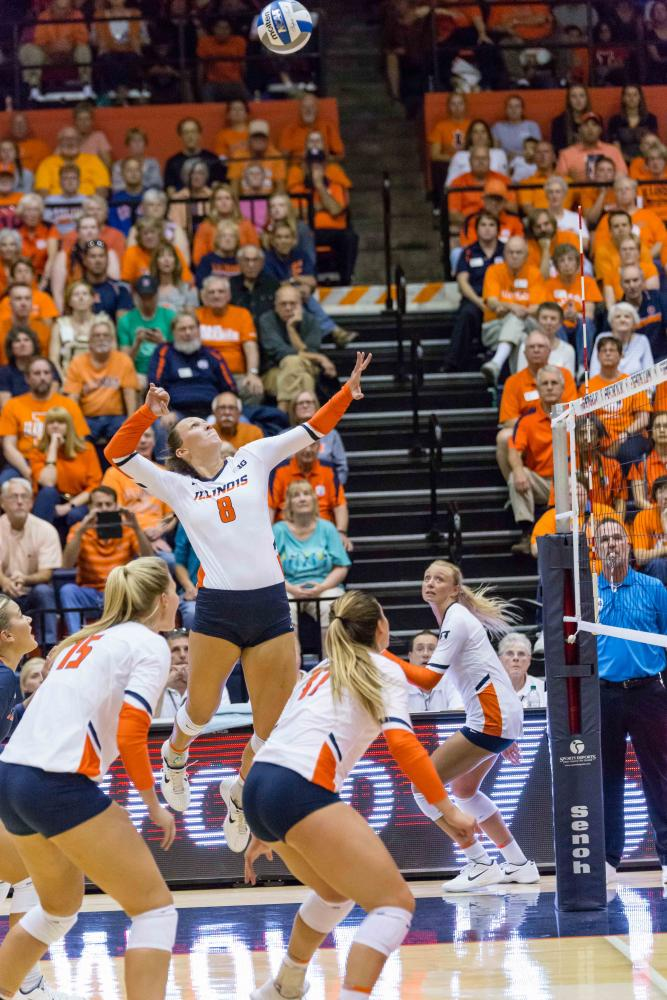 Illinois+outside+hitter+Beth+Prince+%288%29+gets+ready+to+hit+the+ball+during+the+match+against+Stanford+at+Huff+Hall+on+Friday%2C+September+8.+The+Illini+lost+3-0.