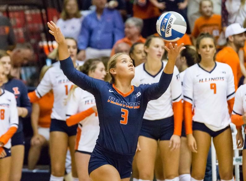 Illinois defensive specialist Brandi Donnelly serves the ball during the match against Stanford at Huff Hall on Sept. 9.