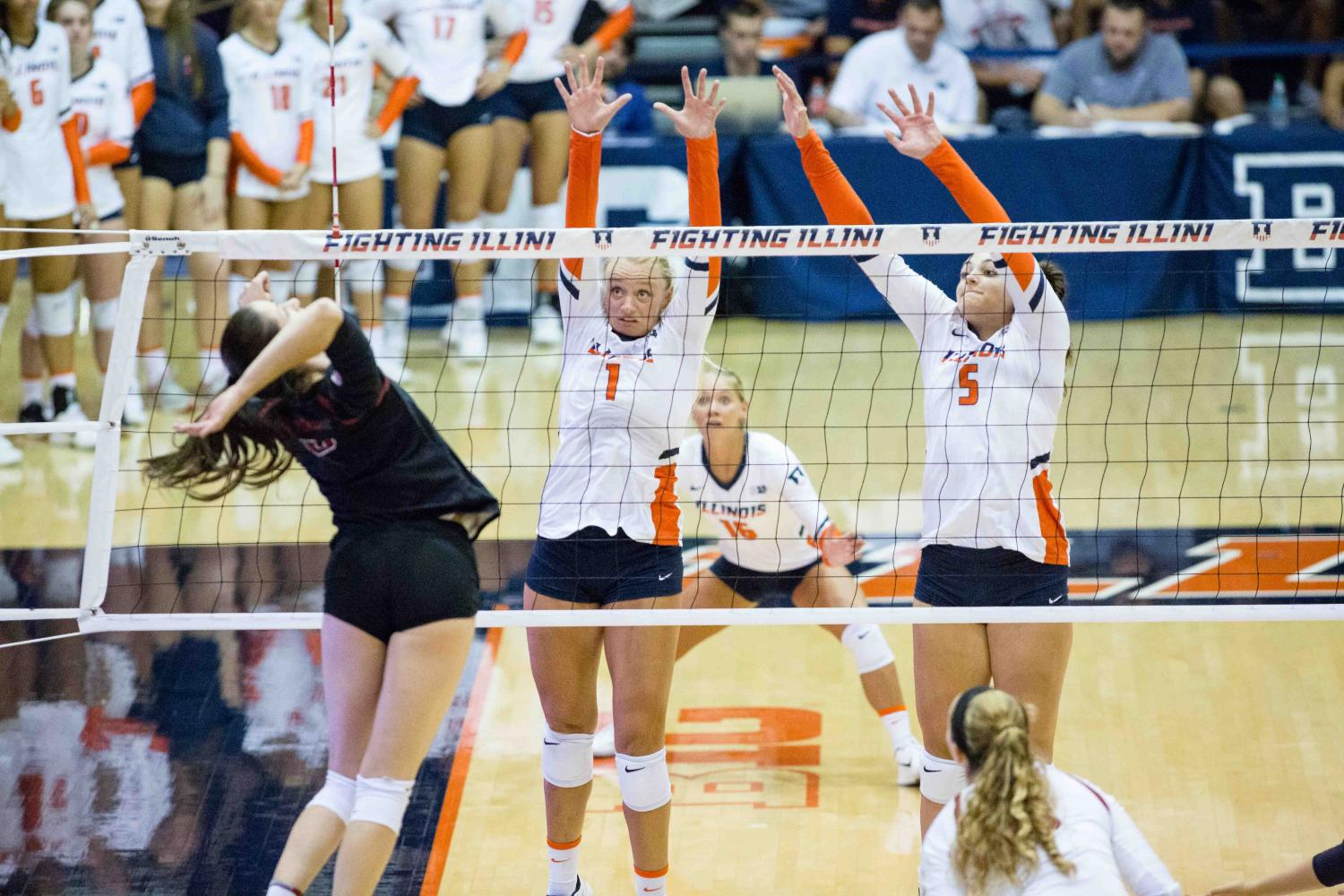 Illinois+setter+Jordyn+Poulter+and+middle+blocker+Ali+Bastianelli+attempt+to+block+Stanford%0Aoutside+hitter+Michaela+Keefe%E2%80%99s+hit+during+the+match+against+Stanford+at+Huff+Hall+on+Friday%2C%0ASept.+8.+The+Illini+lost+3-0.