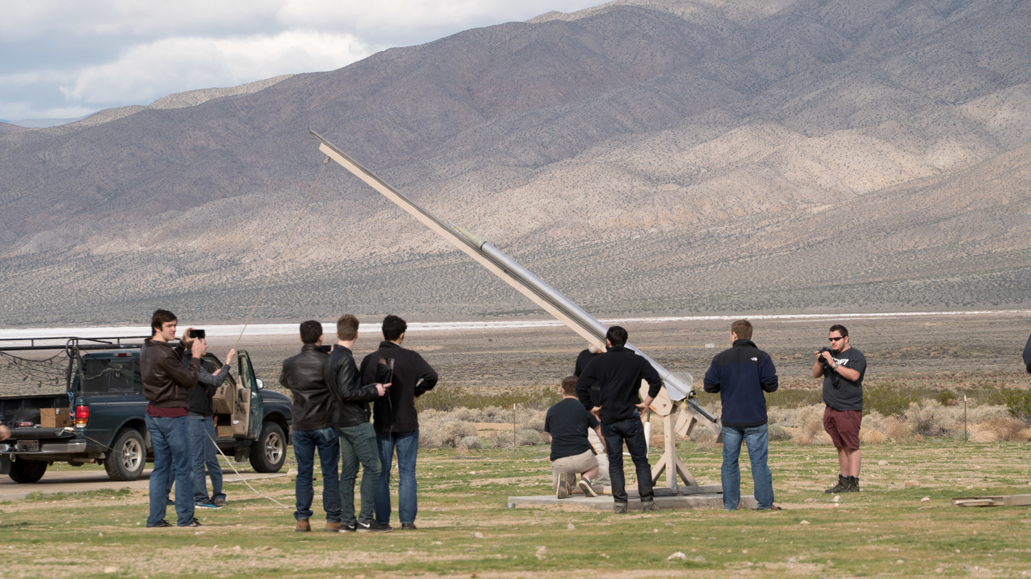 Student Space Systems prepare to launch their rocket into space from the Mojave Desert in California.