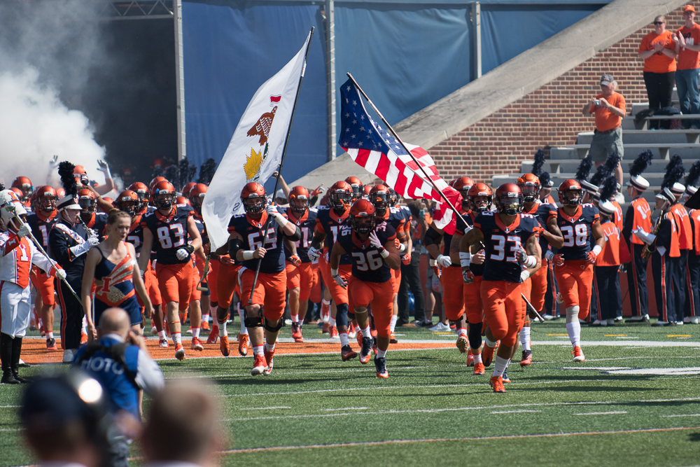 Illinois enters the field at the start of the game against Ball State on Saturday, Sep. 2.