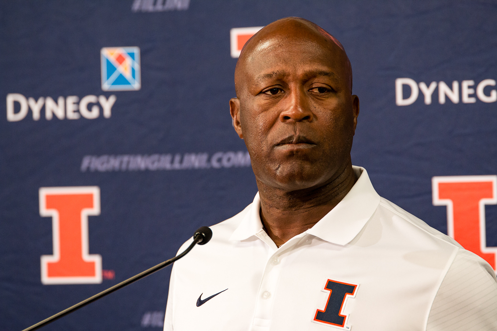 Illinois+head+football+coach+Lovie+Smith+talks+to+reporters+during+Media+Day+at+Memorial+Stadium+on+August+14.