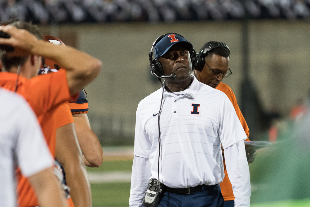 Illinois+head+coach+Lovie+Smith+looks+out+at+his+team+from+the+sidelines+during+the+game+against+Western+Kentucky+at+Memorial+Stadium+on+Saturday%2C+September+9.+The+Illini+won+20-7.