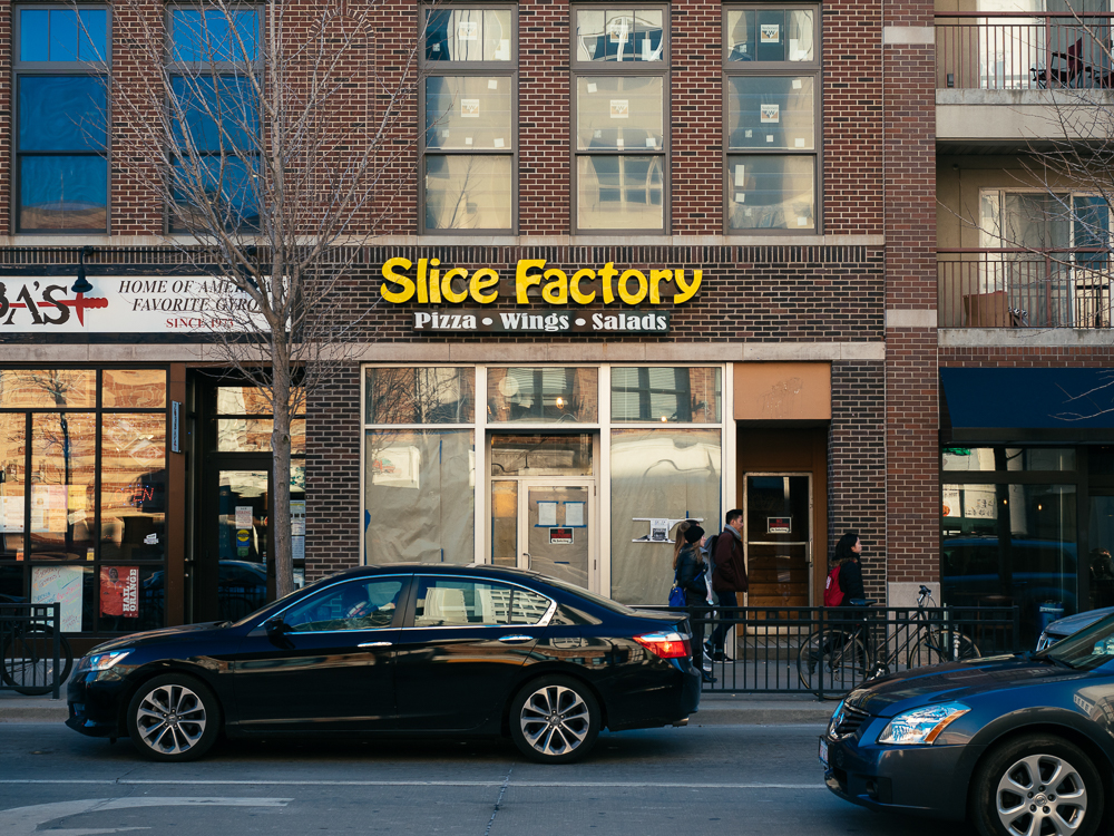 Exterior of Slice Factory on Green St.