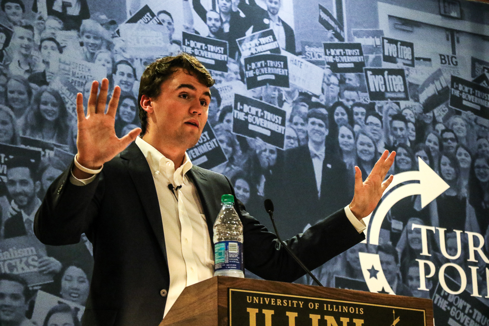 Turning Point USA founder Charlie Kirk speaks at a Q&A in the Illini Union on Thursday, Oct. 5.