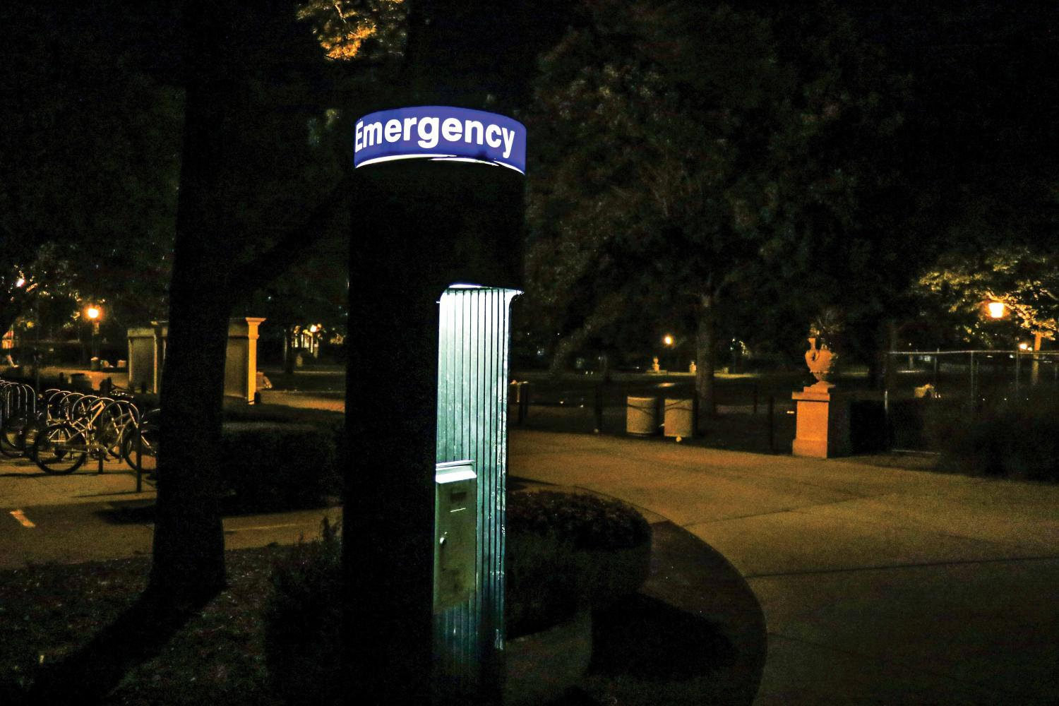 An emergency phone near the Illini Union on Oct. 14.