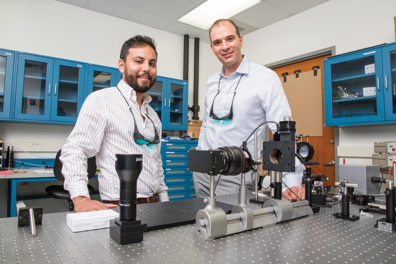 Viktor Grueve - professor of electrical and computer engineering; and graduate student Missael Garcia.