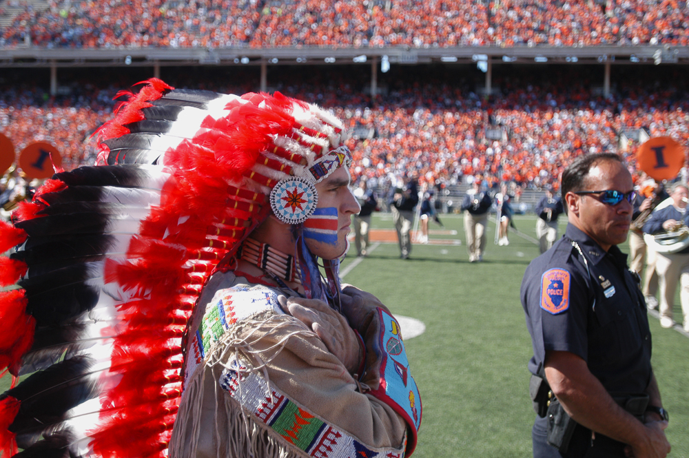 Former University mascot Chief Illiniwek performs at the halftime show in a football game on Oct. 7, 2006. The Chief was retired by the University in 2007 amid controversy. Illini Republicans is hosting Ivan Dozier who portrayed the Chief, later this month