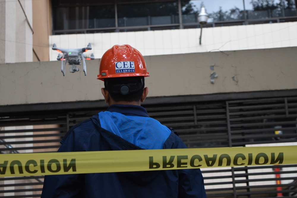 Vedhus Hoskere, graduate student in the College of Civil and Environmental Engineering, and Michael Neal, senior in the College of Civil and Environmental Engineering, traveled to Mexico City after the earthquake in September. Alongside other volunteers, they helped with building inspections using drones and collected data for research.