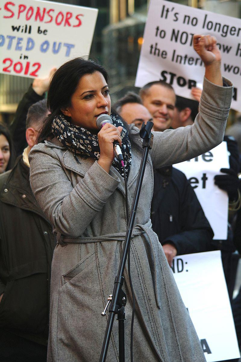 Reshma Saujani at an anti-PIPA rally.