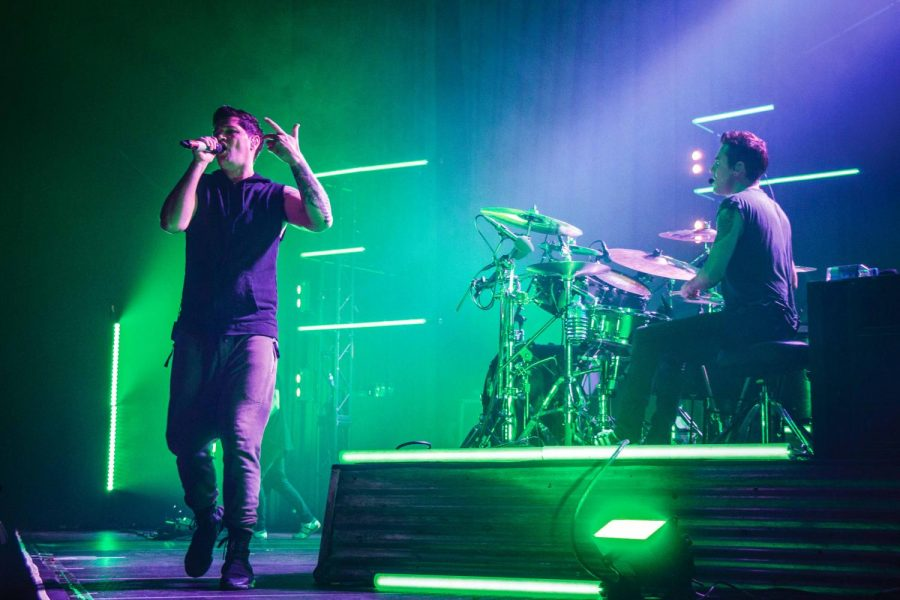 The Script performs at the State Farm Center on Saturday. The band entertained the crowd with a rich mix of classic hits.
