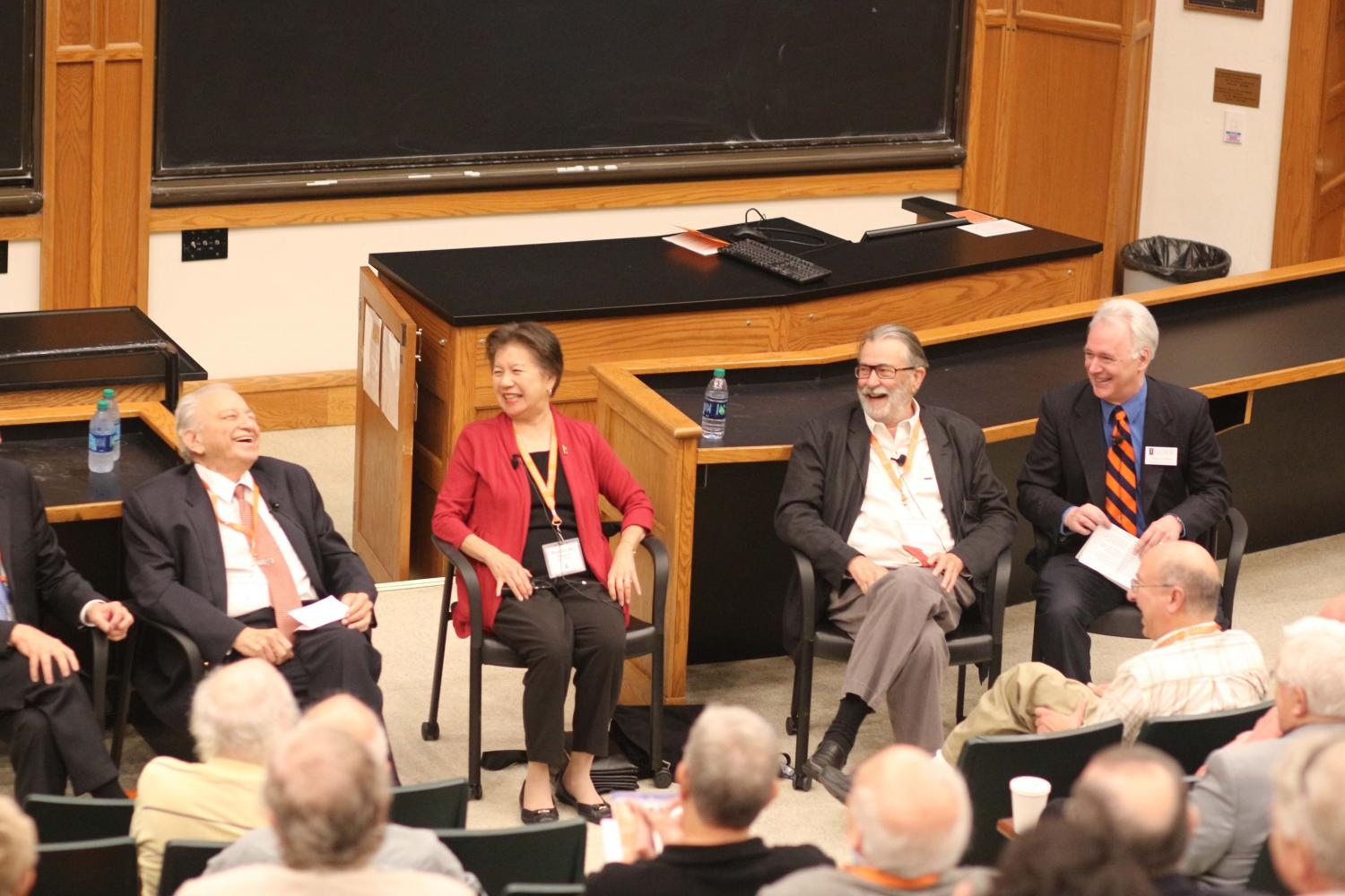 Sesquicentennial History of General Chemistry panel with Greg Girolami, Michael Garst, Marinda Wu and Rudolph Marcus. The celebration took place Friday and Saturday. Gromali moderated the panel and gave samples of his new book.