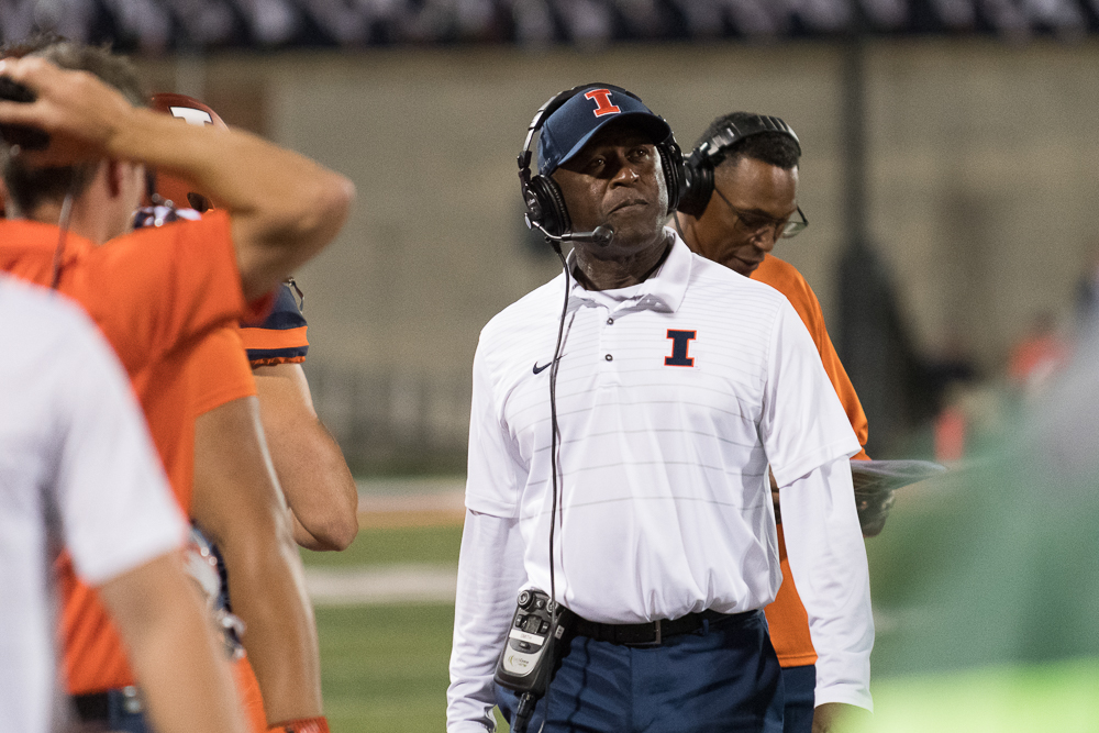 Illinois head coach Lovie Smith stands on the sidelines during the game against Western Kentucky University on Sept. 9.
