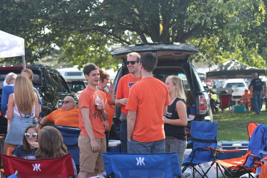 Fighting Illini fans tailgating after the game against Rutgers University on Saturday Oct. 14.