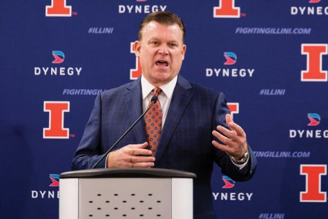 Illinois head basketball coach Brad Underwood answers questions from the media during the media day press conference at the Division of Intercollegiate Athletics building on Wednesday, October 11.