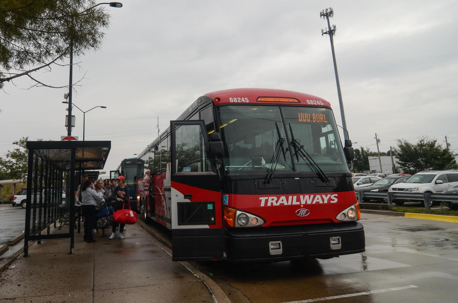 Students board a bus on Friday, Oct. 6 at the Illinois Terminal. Illini Terminal is a frequent place for students to catch a bus to travel home.