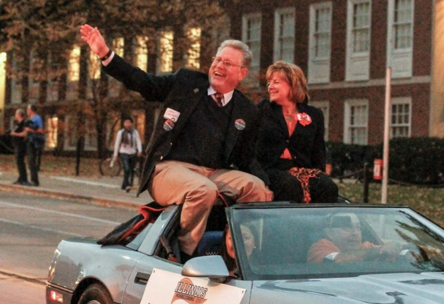 Interim Chancellor Barbara Wilson participates in the Homecoming Parade on Oct. 23, 2015. This year's parade will feature Clydesdale horses as the end of the event.