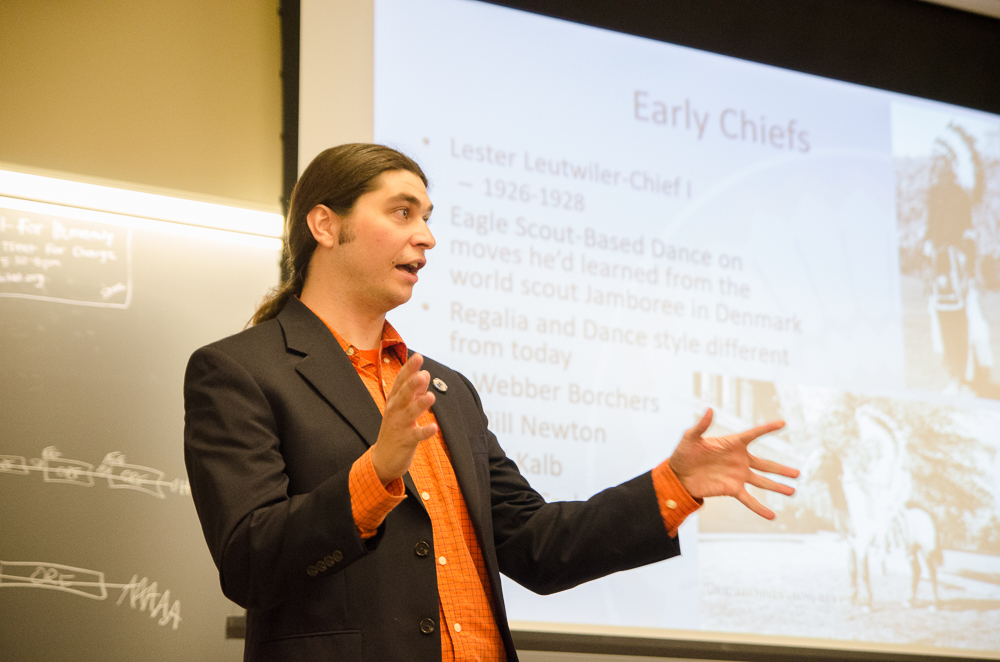 Ivan Dozier, the unofficial Chief Illiniwek from 2010-2015, spoke at this week's meeting of the Illini Republicans on Thursday Oct. 26, in Lincoln Hall. Dozier informed those in attendance on the general history of the Chief, how it was started, how it was carried out, and why it was retired.