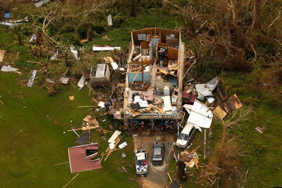 Just one example of the devastation caused by hurricane Maria, shown on Sept. 25, 2017. Nearly one week after hurricane Maria devastated the island of Puerto Rico, residents are still trying to get the basics of food, water, gas, and money from banks. Much of the damage done was to electrical wires, fallen trees, and flattened vegetation, in addition to home wooden roofs torn off. (Carolyn Cole/Los Angeles Times/TNS)