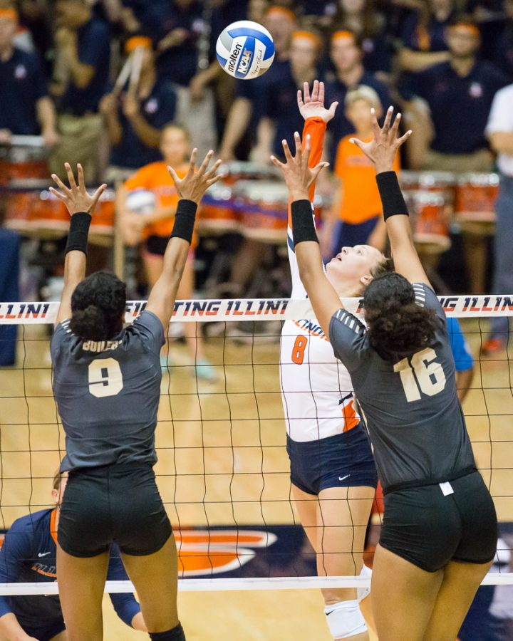 Outside+hitter+Beth+Prince+hits+the+ball+during+the+match+against+Purdue+Oct.+6.+Prince+is+currently+on+the+executive+board+of+the+voulunteer+group+SAAC.