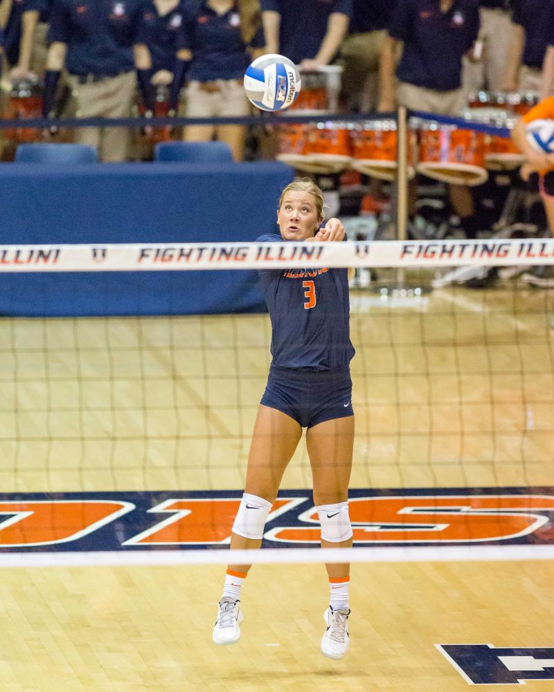 Illinois defensive specialist Brandi Donnelly (3) passes the ball during the match against Purdue at Huff Hall on Friday, October 6. The Illini lost 3-0.