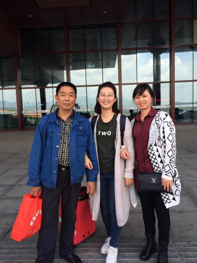Yingying Zhang poses with her family at a train station before leaving home to come to the U.S. The Chinese Students and Scholars Association will hold a memorial Saturday to commemorate the one year anniversary since her disappearance.