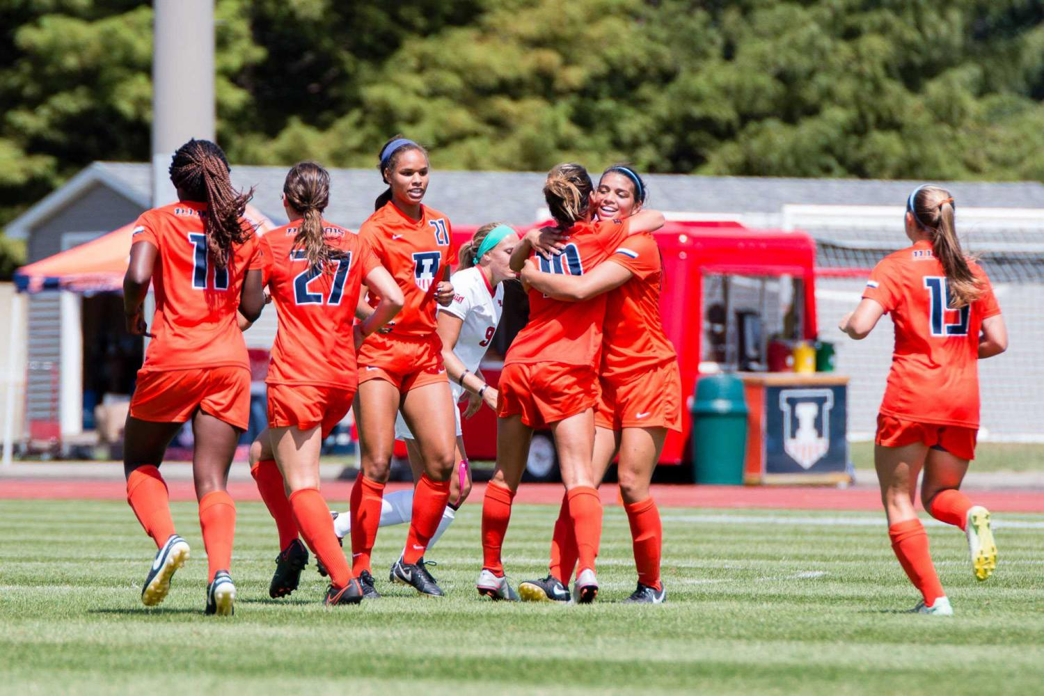 Illinois' Allison Stucky gets a hug from Alicia Barker after scoring the only goal in the game against Illinois State at Illnois Soccer Stadium on Aug. 21, 2016.
