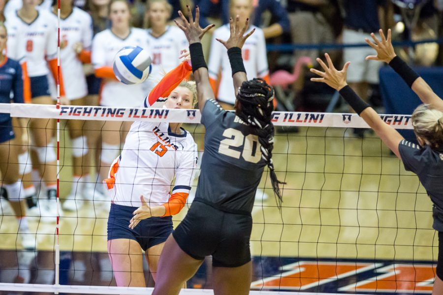 Illinois+outside+hitter+Megan+Cooney+hits+the+ball+during+the+match+against+Purdue+at+Huff+Hall+on+Friday%2C+Oct.+6.+The+Illini+lost+3-0.