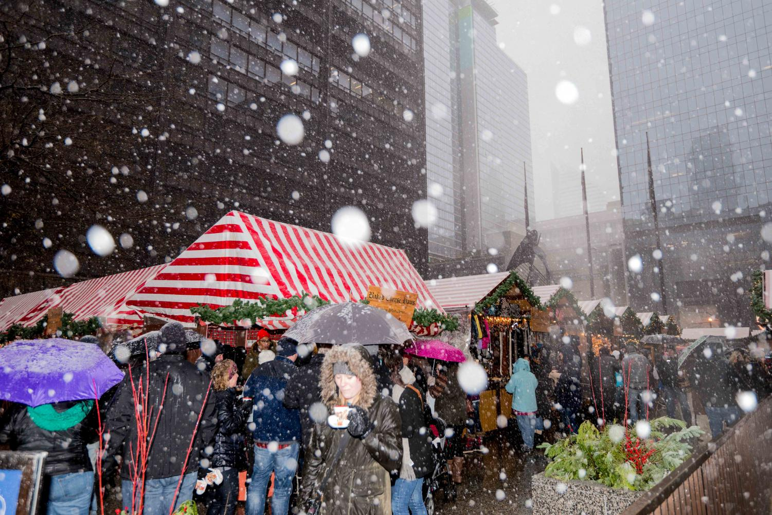Daley Plaza during Christkindlmarket in Chicago.