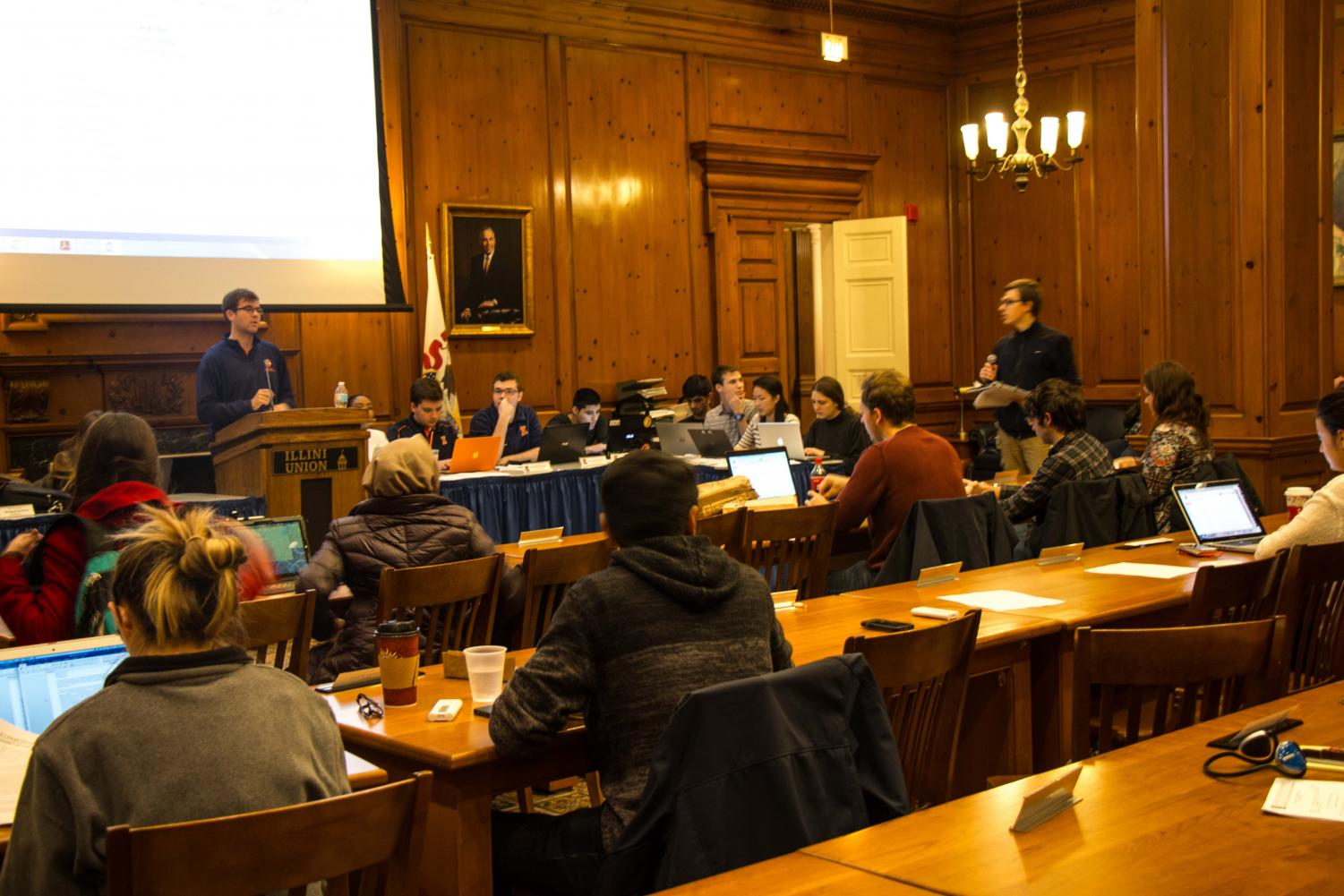 The Illinois Student Government meeting at the Pine Lounge in the Illini Union on Nov. 15, 2017. ISG executive members said they are working on completing initiatives brought up in the semester, including a sexual assault prevention task force.