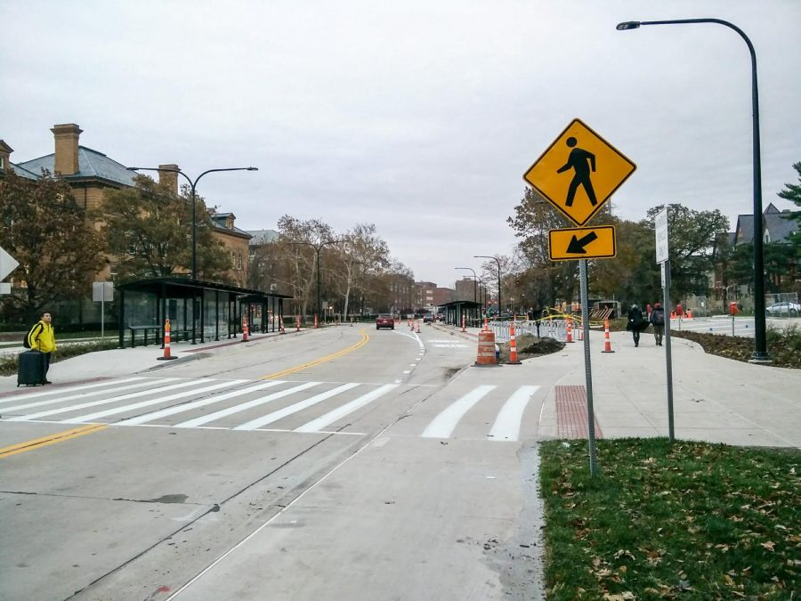 The long-lasting construction on Green Street has begun to clear up, revealing new bus stops in front of the Union on Nov. 17, 2017.
