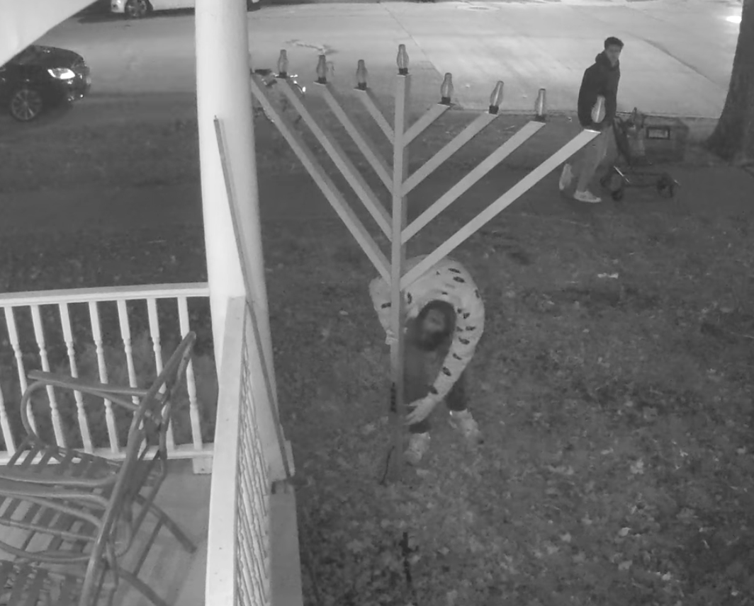 Two people caught on camera vandalized a menorah in the front lawn of the Chabad Jewish Center. The center is working on creating a more durable structure, which should be completed by Hanukkah of this year.