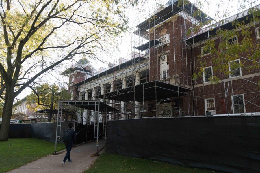 Construction is ongoing at the  English Building on the quad.
