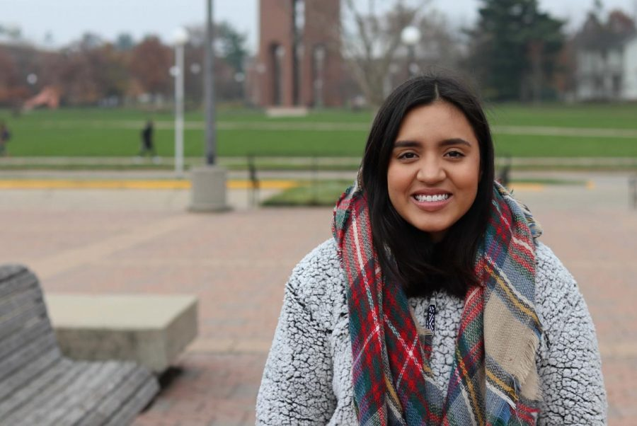 Margarita Castrejon, a sophomore in Spanish Education in the College of LAS, studies at the Undergraduate Library. Margarita is the first member of her family to attend college.